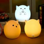Rechargeable Silicone USB LED Colorful Atmosphere Pig Night Light for Kids Adults Bedroom