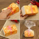 Squishy Sesame Toast Bread 12.5 7.5 6.3cm With Bowknot Slow Rising Toy Gift Decor