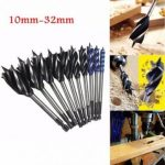 Four Slot Four Blade Woodworking Auger Drill Bit 10mm-32mm Hex Shank Bore Hole Twist Drill Bit