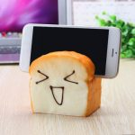 Jumbo Squishy 7 Seconds Slow Raising Slice Toast Joy Happy Faces Mobile Phone Seat Cellphone Holder
