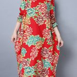 Vintage Women Irregular print loose dress