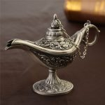 New Brand Aladdin Classic Alloy Magic Genie Light Wishing Oil Collectable Hollow Museum Lamp Light
