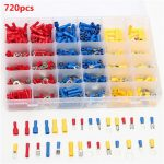 Excellway EC10 720Pcs Insulated Electrical Wire Terminals Crimp Connector Kit