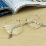 Retro Vintage Oval Transparent Golden Eyeglass Frame Steel Legs Glasses Spectacles Metal Frame