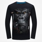 Plus Size S-4XL Mens 3D Animal Pattern Printing Personality Long Sleeve Cotton T-shirt