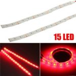 2pcs 12V 5050 15 LED Red Strip Lights Waterproof for Motorcycle Boat Car