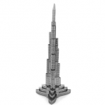 Aipin DIY 3D Puzzle Burj Kalifa Dubai Stainless Steel Model Kit Silver Color