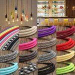 5M Vintage Colorful Twist Braided Fabric Cable Wire Electric Pendant Light Accessory