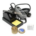 YIHUA 908 220V 60W Electric Iron Soldering Station Welding Rework with Soldering Stand Cleaning Ball 5 Tips