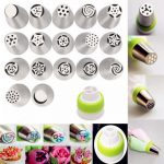 17Pcs Stainless Steel Russian Tulip Flower Icing Piping Nozzles Cake Decoration Tips Baking Tool
