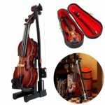 1/12 Violin Wooden Musical Instrument With Case Holder Doll House Decor Accessories Gift