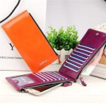 Women Waxy Ultrathin Leather Long Purse Elegant Card Multi Card Holder Phone Wallets Coin Bags