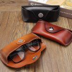 Vintage Handmade Real Leather Cowhide Glasses Case Causal Eyeglasses Box Bag