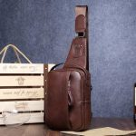 Men PU Casual Zipper Small Black Brown Blue Crossbody Shoulder Chest Bag