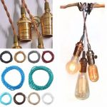 5M Vintage 2 Core Twist Braided Fabric Cable Wire Electric Lighting Cord
