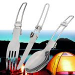 3pcs Camping BBQ Hiking Picnic Folding Cutlery Set Knife Fork Spoon Utensil with a Bag