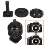 Dual Nuts Metal Tripod Mount Screw to Flash Camera Light Stand Hot Shoe Adapter