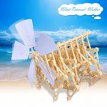 Cute Sunlight DIY Wind Powered Walking Stand Beast Mini Walker Model Kit Puzzle Toy