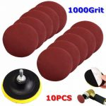 10pcs 4 Inch 1000 Grit Sandpaper with Backer Pad and Drill Adapter