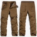 Men Military Outdoor Cargo Pants Loose Casual Cotton Multi-pockets Straight Leg Trousers