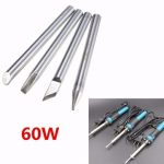 5.7mm Dia 60W Electric Soldering Solder Iron Replaceable Bit Tips Four Shapes for Optional