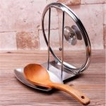 Kitchen Stainless Steel Pan Pot Rack Lid Rack Stand Spoon Rest Cover Holder
