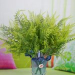 Plastic Green 7 Stems Artificial Asparagus Fern Bush Plants Home Cafe Office Decoration