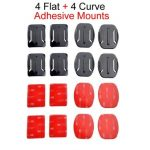 4 Flat and 4 Curved Adhesive Mounts With 3M Adhesive Pads For Gopro