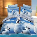 4pcs 3D Cute Penguins Reactive Dyeing Thicken Bedding Sets Polyester Fiber Queen King Size Duvet Cover