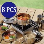 8PCS Outdoor Cooking Picnic BBQ Pot Pan Plate Cup Set Cookware Stainless Steel Tableware Cutlery