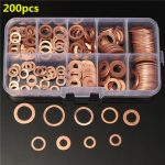 200PCs Solid Copper Washers Sump Plug Assorted Washer Kits 9 Sizes