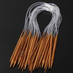 18 Sizes 60cm Carbonized Bamboo Circular Knitting Needles Hat Sweater Scarf Crochet Hooks