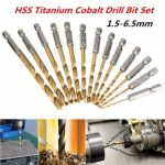 13pcs 1/4 Inch Hex Shank 1.5-6.5mm HSS Titanium Coated Drill Bit Set