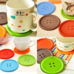 5Pcs Cute Colorful Silicone Button Coaster Cup Mat Drink Placemat