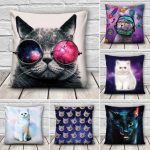 Creative 3D Galaxy Space Cats Throw Pillows Case Home Sofa Office Car Cushion Cover Gift