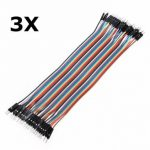 3Pcs 40P 20cm Male to Male Color Breadboard Cable Dupont Wire Jumper