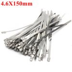 100pcs 4.6X150mm Ball Lock Metal Stainless Steel Zip Ties Wrap Strap