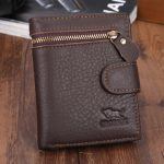 Men Business Cowhide Leather Coffee Zipper Card Holder Money Bag Wallet