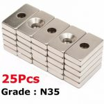 25pcs N35 20x10x4mm Block Countersunk Magnets With 5mm Hole Rare Earth Neodymium Magnets