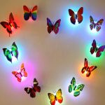 Honana Colors Changing LED Flashing Butterfly Night Light Decorative Lights 3D Stickers Home Decor