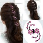 6Pcs Bride Plum Flower Rhinestone Clip Claws Bridal Wedding Dress Hair Accessories