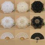 Handmade Cotton Lace Parasol Umbrella And Hand Fan Party Wedding Decor
