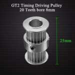 GT2 Timing Driving Pulley 20Teeth Bore 8MM Double Side Gear Alumium For GT2 Belt Width 6MM