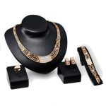 Gold Plated Crystal Necklace Earrings Bracelet Ring Jewelry Set