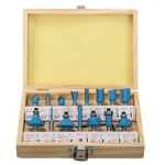 15pcs 1/4 Inch Round Shank Carbide Router Bit Set Wood Milling Cutter With Wood Case