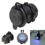 12V-24V 5V 2.1A Dual USB Quick Charger LED Socket Waterproof for Motorcycle Auto Car