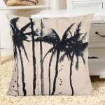 45x45cm Black Monochrom Tropical Scene Palm Trees Pillowcase Sofa Cushion Cover