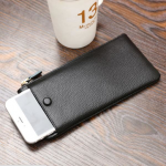 Universal Simple PU Zipper Card-slots Wallet Bag For 5.5 Inch Smartphone