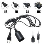 E27 Black Holder with 2M Cable for Reptile Infrared Ceramic Heat Emitter Lamp Bulb