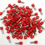 100Pcs E1008 Red Wire Copper Crimp Connector Insulated Cord Pin End Terminal AWG 18